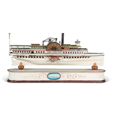 VERY FINE CARVED AND POLYCHROME PAINT-DECORATED WOOD AND METAL PADDLE WHEELER MODEL OF THE JAMES STONE REESE, LATE 19TH CENTURY