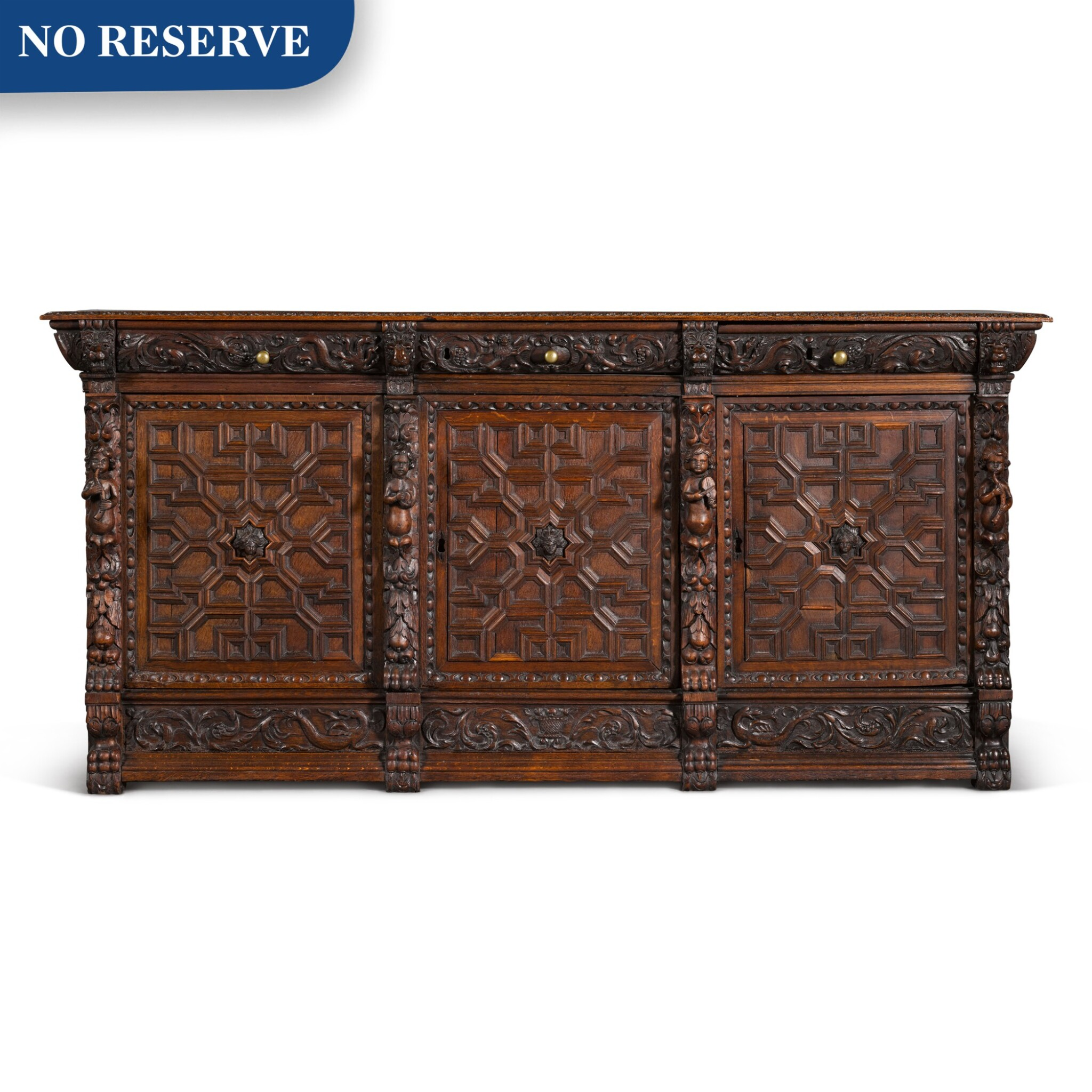 View 1 of Lot 9. A Flemish Renaissance style carved oak low cabinet (ribbank), probably Antwerp.