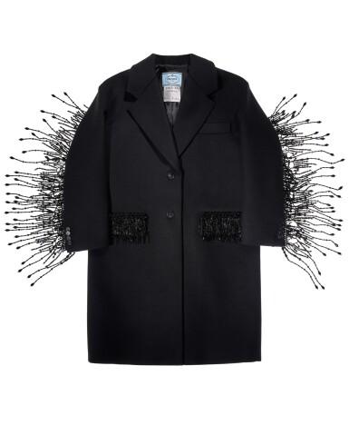 View 4. Thumbnail of Lot 8. PRADA | WOOL BEADED FRINGE COAT AND VANITY NECKLACE,   WORN BY THERESA HAYES.