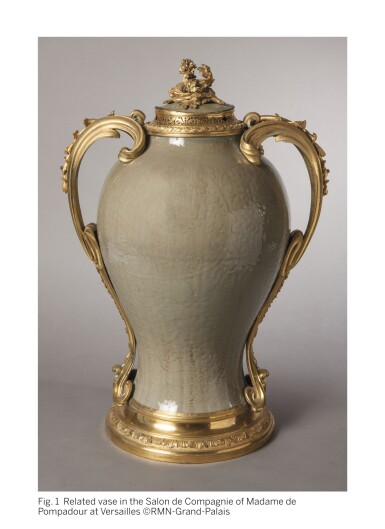 View 2. Thumbnail of Lot 774. A LOUIS XV GILT-BRONZE MOUNTED CHINESE CRACKLE-GLAZED CELADON VASE, THE PORCELAIN QING DYNASTY, 18TH CENTURY, THE MOUNTS CIRCA 1760, IN THE MANNER OF DUPLESSIS.