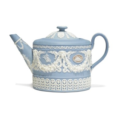 A WEDGWOOD THREE-COLOR JASPERWARE TEAPOT AND COVER CIRCA 1860