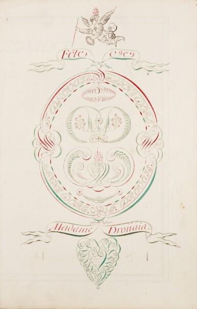 View 2. Thumbnail of Lot 41. [DROUAIS]. Fête de madame Drouais. Manuscrit vers 1773-1774. Reliure en soie peinte et brodée..