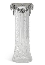 A silver-mounted, cut-glass vase, St Petersburg, 1908-1917