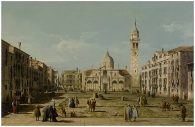 View full screen - View 1 of Lot 26. BERNARDO BELLOTTO | VENICE, A VIEW OF THE CAMPO AND CHURCH OF SANTA MARIA FORMOSA.
