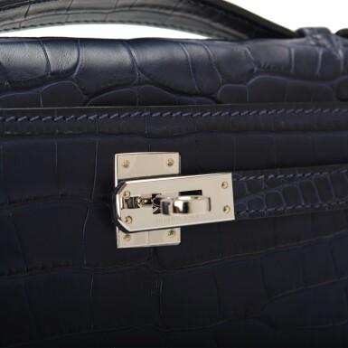 View 6. Thumbnail of Lot 44. Hermès Mini Kelly Pochette of Bleu Indigo Matte Mississippiensis Alligator with Palladium Hardware.