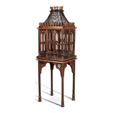 A VICTORIAN NEO-GOTHIC PARCEL GILT AND GRAINED BIRD CAGE ON STAND, MID-19TH CENTURY