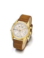 ROLEX | REF 4767 A YELLOW GOLD TRIPLE CALENDAR CHRONOGRAPH WRISTWATCH WITH REGISTERS CIRCA 1948