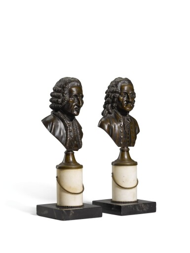 View 2. Thumbnail of Lot 98. French, 19th century, Busts of Voltaire and Rousseau.