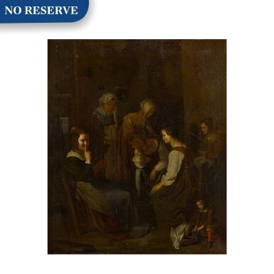 View 1. Thumbnail of Lot 69. A group of seated and standing women in an interior with a young child in the foreground.