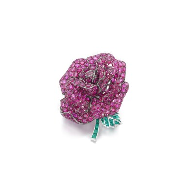 View 1. Thumbnail of Lot 50. Ruby and emerald brooch.
