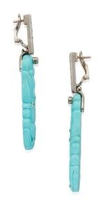 PAIR OF TURQUOISE AND DIAMOND EARCLIPS, VERNEY, FRANCE