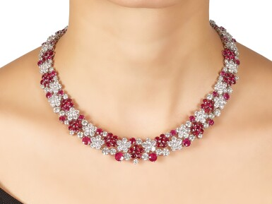 View 1. Thumbnail of Lot 1019. Ruby and Diamond Necklace | 格拉夫| 紅寶石 配 鑽石 項鏈 (紅寶石及鑽石共重約46.50及50.30克拉).
