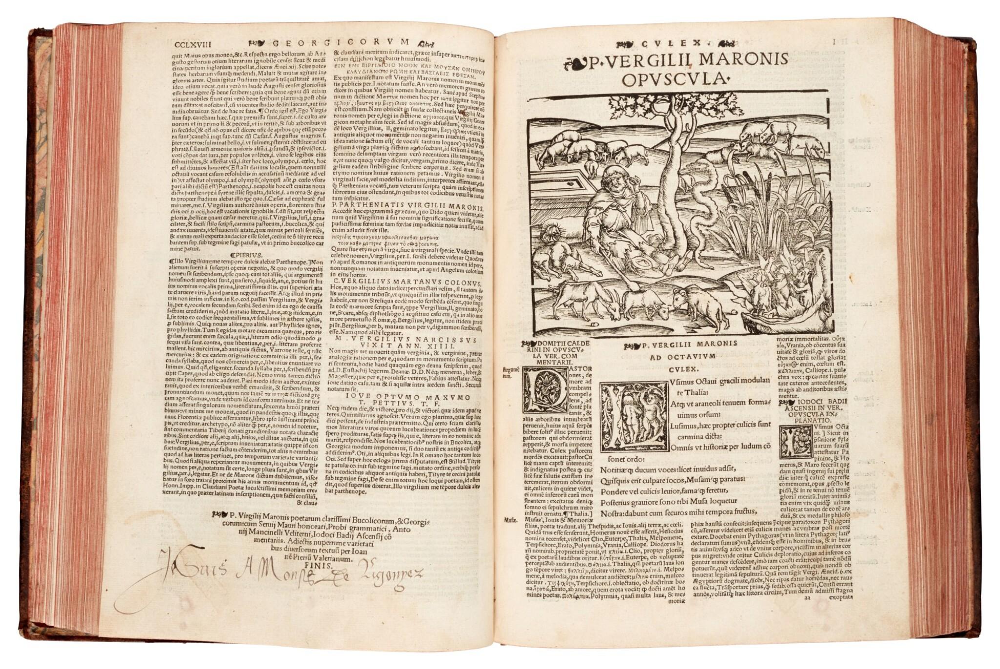 View full screen - View 1 of Lot 259. Vergil, Opera Virgiliana, Lyon, 1529, later mottled calf.