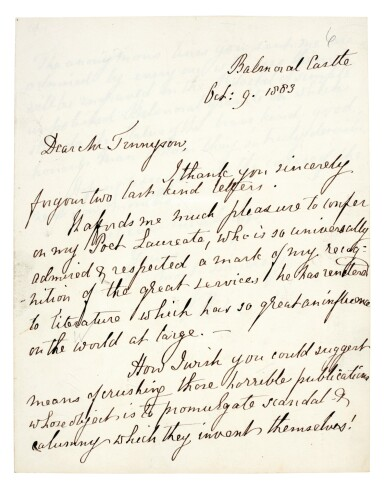 View 6. Thumbnail of Lot 126. QUEEN VICTORIA   autograph letter signed, to Tennyson, October 1883.