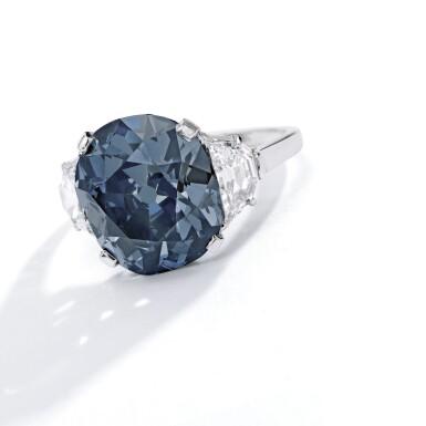 View 2. Thumbnail of Lot 500. 'THE INDIAN BLUE,' AN ENCHANTING FANCY DEEP GRAYISH BLUE DIAMOND AND DIAMOND RING | 深彩灰藍色鑽石配鑽石戒指.