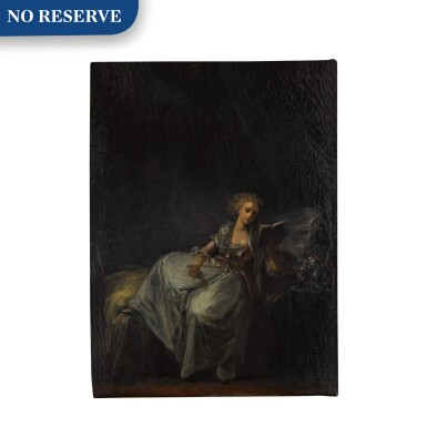 View 1. Thumbnail of Lot 92. Woman reclining in an interior, reading a book.