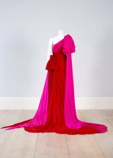View 5. Thumbnail of Lot 35. Red and Fuchsia Pink Silk Chiffon Asymmetrically Draped Couture Gown, Worn by Marisa Tomei for the 2019 Emmy Awards, Autumn-Winter 2019/20 Collection.