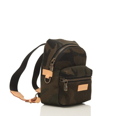 "Louis Vuitton x Supreme Camouflage ""Apollo"" Nano Backpack of Canvas, Leather and Gold Tone Hardware"