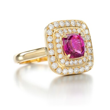 View 2. Thumbnail of Lot 94. PINK SAPPHIRE AND DIAMOND RING.