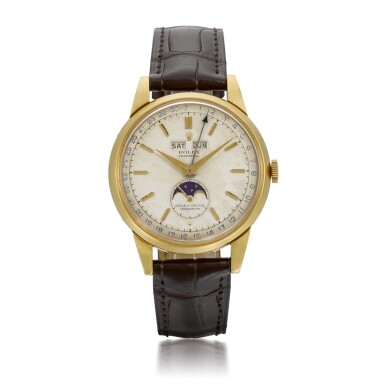 View 1. Thumbnail of Lot 366. ROLEX   PADELLONE, REF 8171, YELLOW GOLD WRISTWATCH WITH DAY, DATE, MONTH AND MOONPHASE, CIRCA 1952.