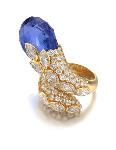 View 2. Thumbnail of Lot 145. Van Cleef & Arpels | Sapphire and diamond ring, 1982 | 梵克雅寶 | 藍寶石配鑽石戒指,1982年.