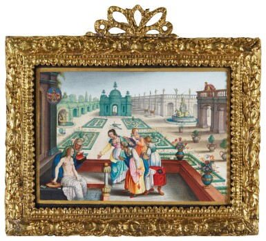 STRASBOURG SCHOOL, 16TH CENTURY | BATHESBA AND DAVID IN THE ROYAL GARDEN