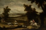 HISPANO-FLEMISH SCHOOL, 17TH CENTURY | A hawking party in a wooded river landscape; A boar hunt in a wooded landscape