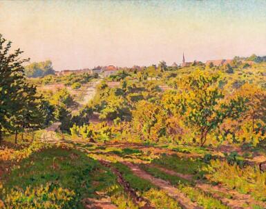 View 1. Thumbnail of Lot 109. Paysage au clocher.