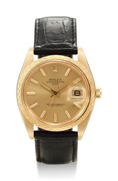 View 1. Thumbnail of Lot 8052. ROLEX   DATE, REFERENCE 1514, A YELLOW GOLD WRISTWATCH WITH DATE, CIRCA 1948.
