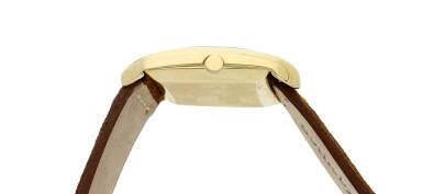 View 4. Thumbnail of Lot 1. Reference 3424   A yellow gold asymmetrical wristwatch, designed by Gilbert Albert, Circa 1962 .