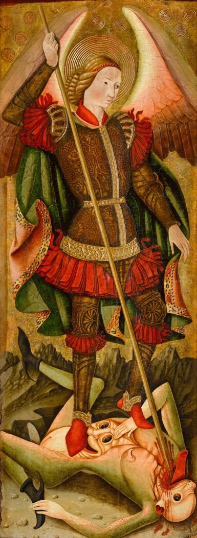 View 1. Thumbnail of Lot 25. MAESTRO DE LOS FLORIDA (JUAN DE BONILLA? DOC. 1442–78) |  SAINT MICHAEL VANQUISHING THE DEVIL   .