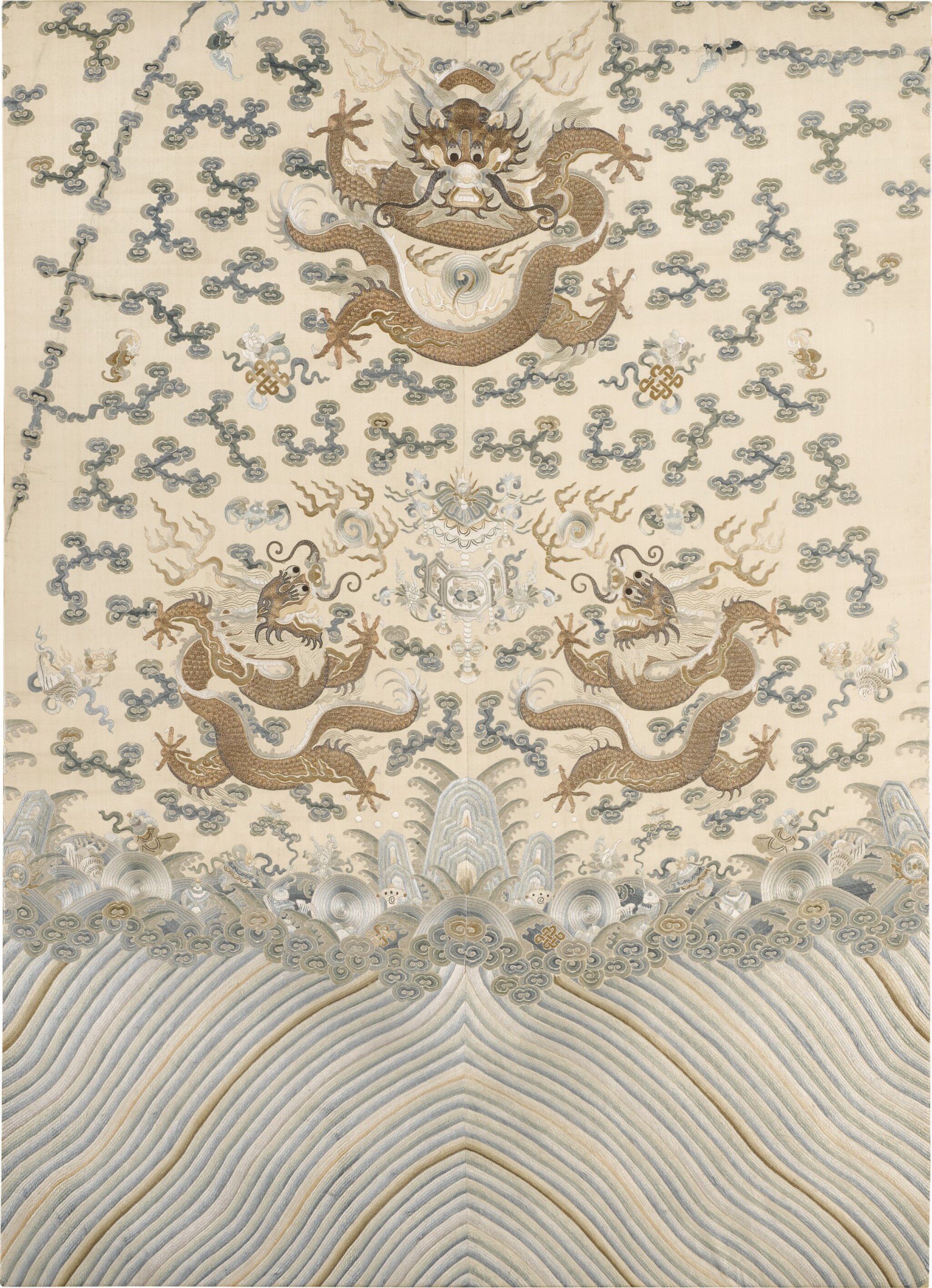 View 1 of Lot 1010. A PALE YELLOW-GROUND SILK EMBROIDERED 'DRAGON' PANEL FOR A ROBE, LATE QING DYNASTY.
