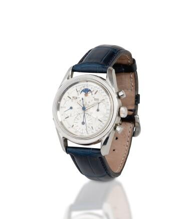 View 2. Thumbnail of Lot 22. Tri-Compax, Ref. 222100/2    Chronographe bracelet avec calendrier triple     Stainless steel chronograph wristwatch with triple calendar     Vers 1955      Circa 1955.