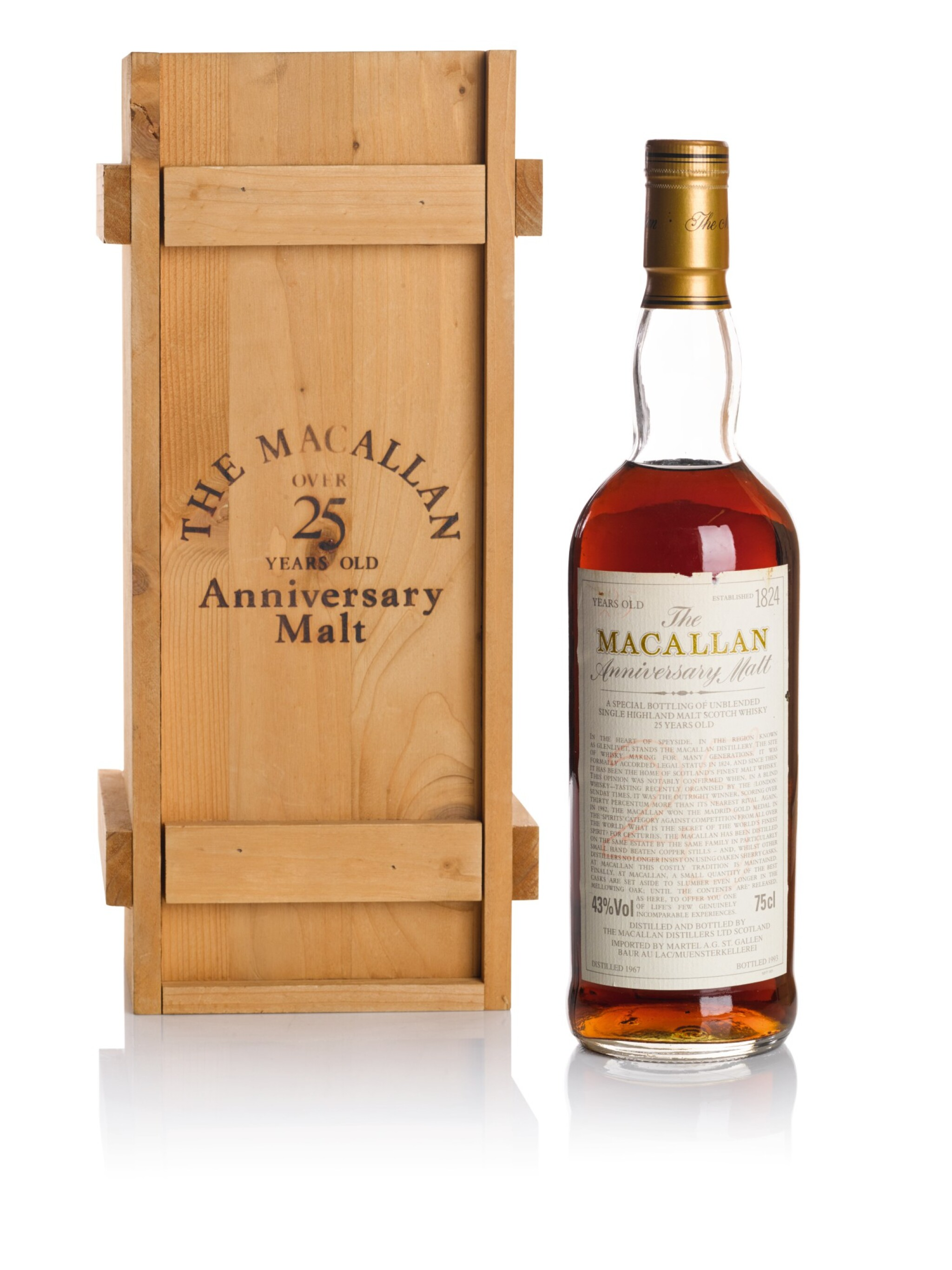 View full screen - View 1 of Lot 44. THE MACALLAN 25 YEAR OLD ANNIVERSARY MALT 43.0 ABV 1967   .