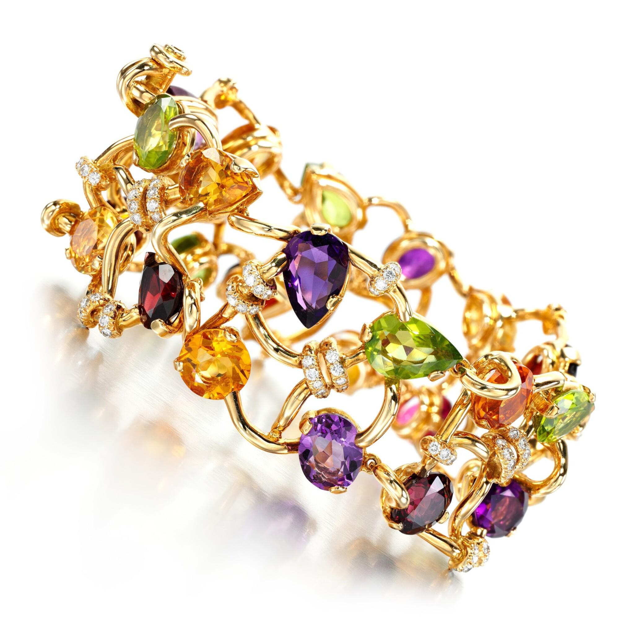 View full screen - View 1 of Lot 149. Gem set and diamond bracelet.