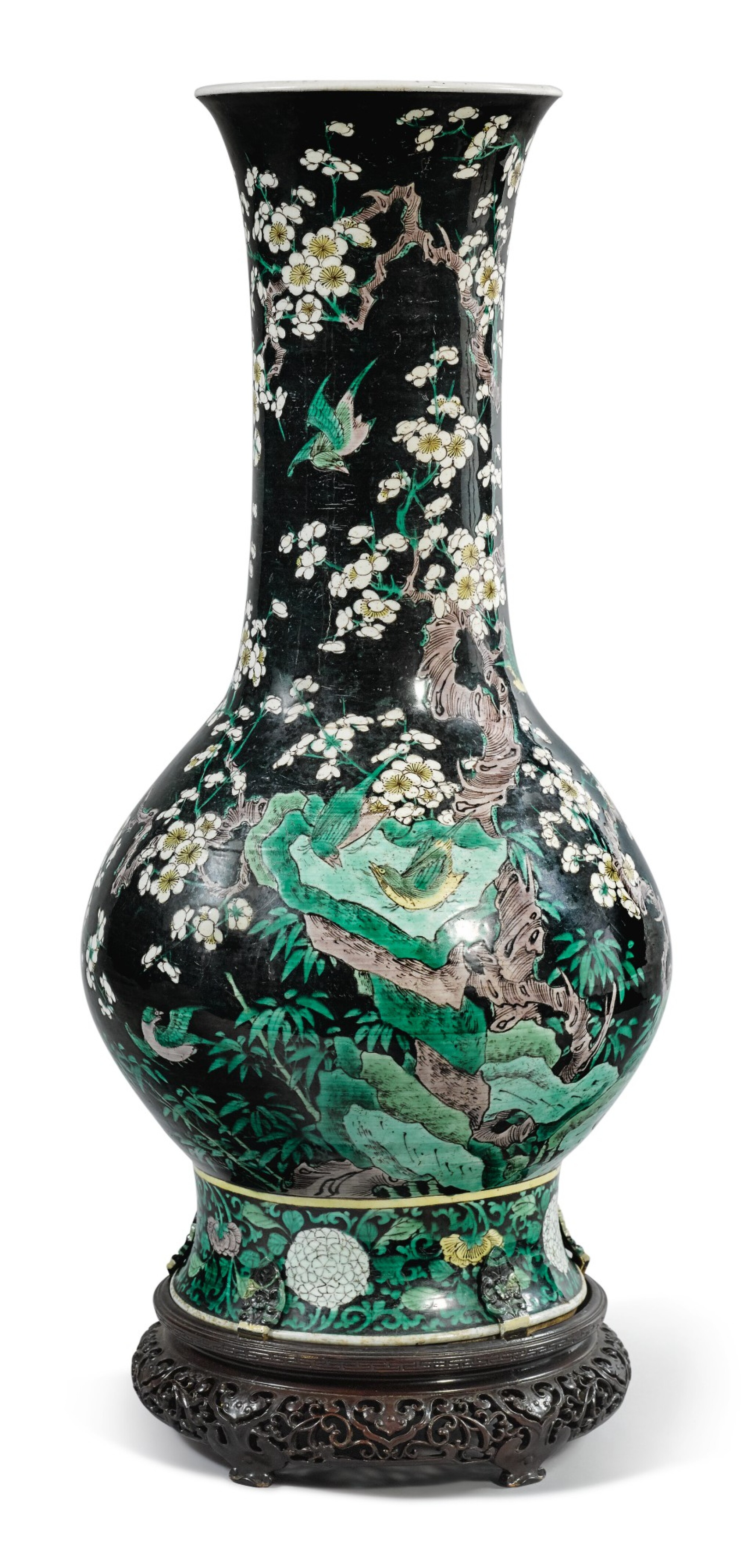 View 1 of Lot 1031. A FAMILLE-NOIRE 'BIRD AND FLOWER' PEAR-SHAPED VASE,  THE PORCELAIN 18TH CENTURY, THE ENAMELS LATER-ADDED.
