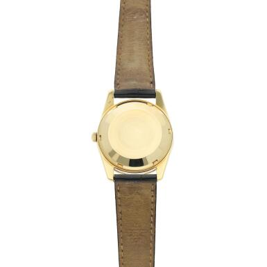 View 5. Thumbnail of Lot 251. Reference 3558  A yellow gold automatic wristwatch with date, Made in 1968.