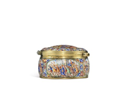 View 3. Thumbnail of Lot 1. An enamel snuff box with jewelled gold mounts, possibly Southern German, dated 1671.