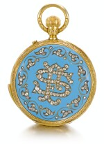 JAMES MCCABE, LONDON | A FINE GOLD, ENAMEL AND DIAMOND-SET HALF-HUNTING CASED MINUTE REPEATING KEYLESS LEVER WATCH WITH CONCEALED POLYCHROME ENAMEL PAINTED PORTRAIT OF AN INDIAN GENTLEMAN, MADE FOR THE INDIAN MARKET  1877, NO. 08849