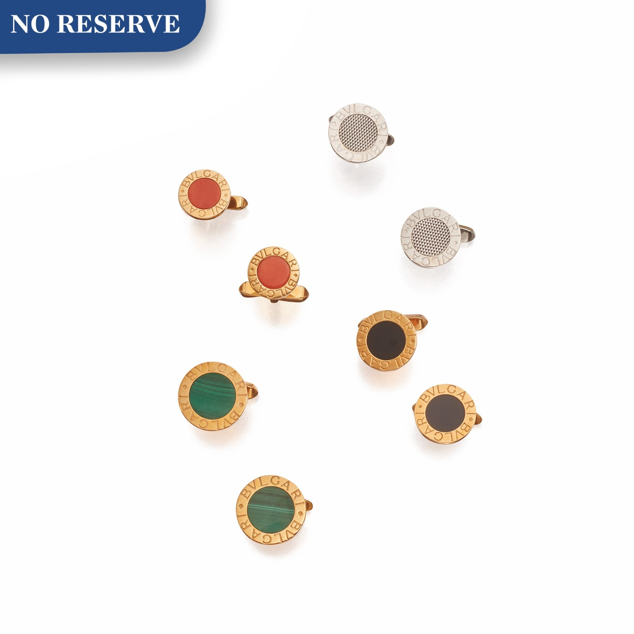 View 1 of Lot 459. Bulgari | Four Pairs of Gold and Hardstone Cufflinks.