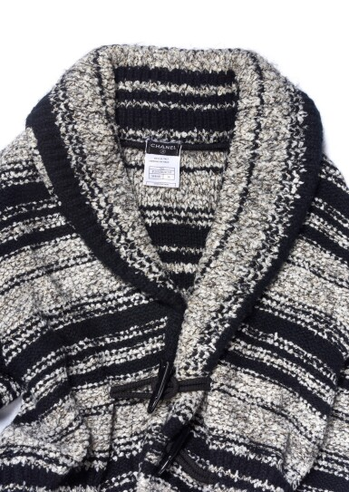 BLACK AND GREY METALLIC CACHEMIRE-BLEND COAT, CHANEL