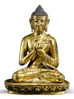 A GILT COPPER-ALLOY FIGURE OF A DHARMACHAKRA BUDDHA TIBET OR NEPAL, 18TH/19TH CENTURY | 十八/十九世紀 尼泊爾或西藏 鎏金銅佛坐像