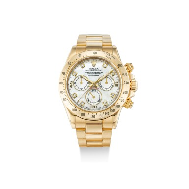 ROLEX | COSMOGRAPH DAYTONA, REFERENCE 116528, A YELLOW GOLD AND DIAMOND-SET CHRONOGRAPH WRISTWATCH WITH MOTHER-OF-PEARL DIAL AND BRACELET, CIRCA 2010