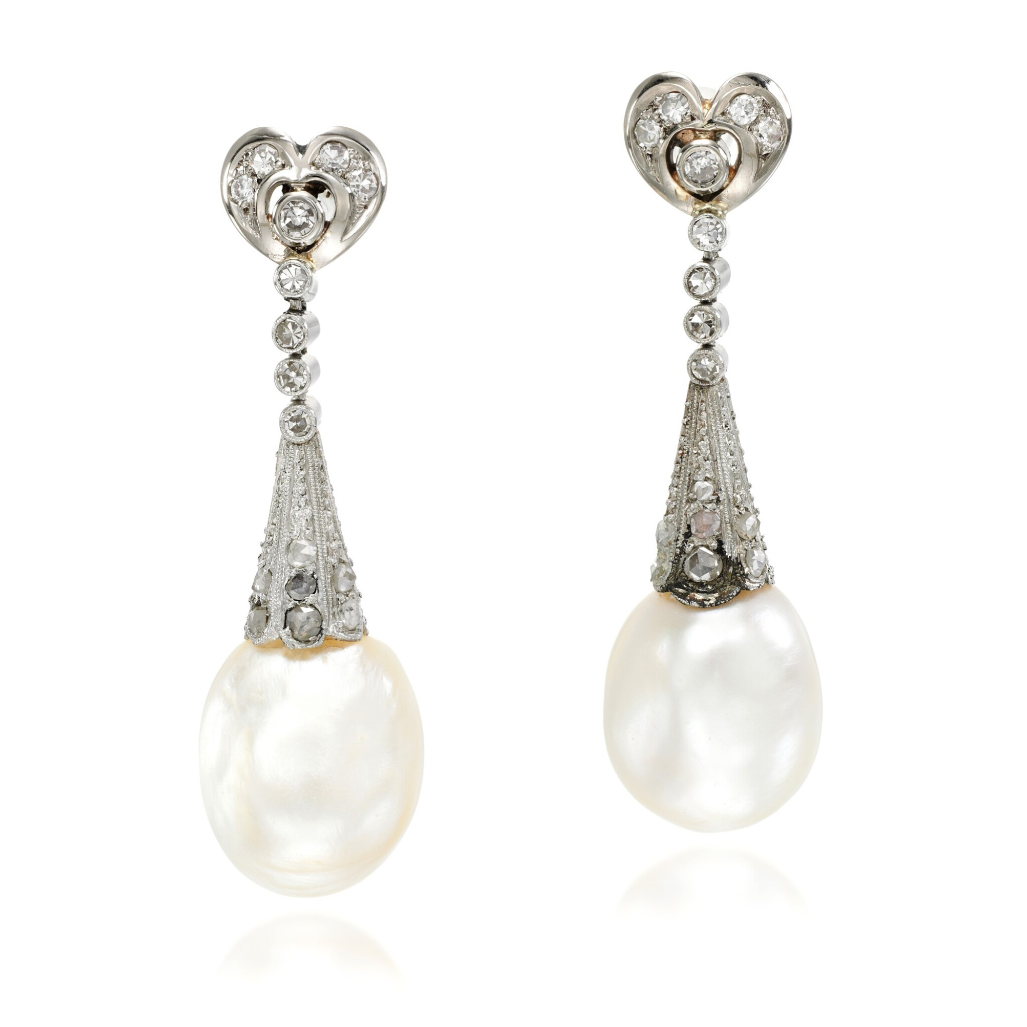 View full screen - View 1 of Lot 53. Pair of natural pearl and diamond earrings, early 20th century composite.