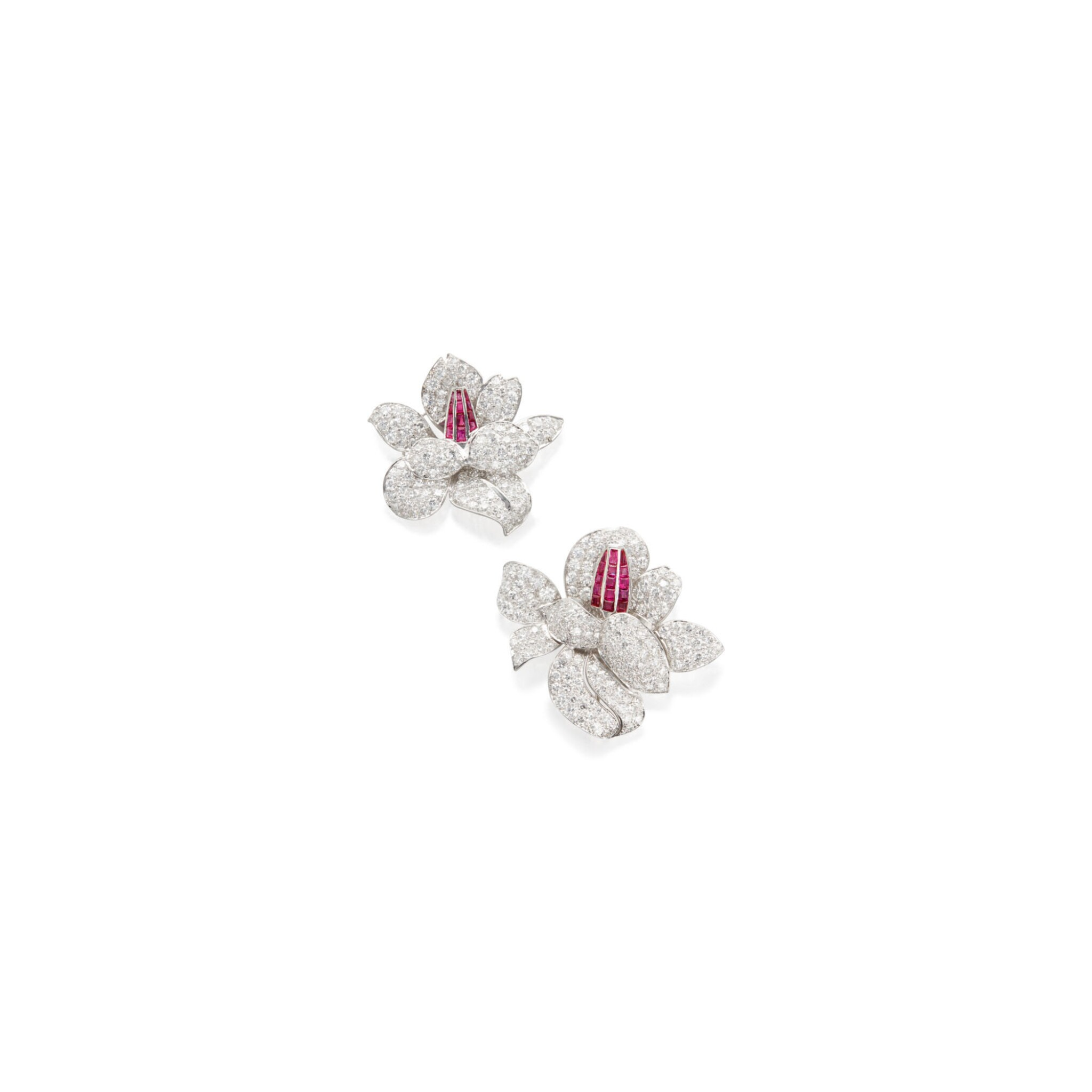View full screen - View 1 of Lot 86. PAIR OF DIAMOND AND RUBY CLIP-BROOCHES.