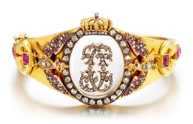 View 1. Thumbnail of Lot 9008. Rock Crystal, Ruby and Diamond Bangle, Late 19th Century | 白水晶 配 紅寶石 及 鑽石 手鐲, 19世紀末.