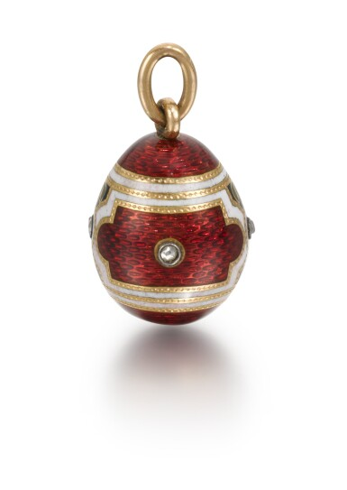 View 2. Thumbnail of Lot 6. A Fabergé jewelled gold and guilloché and champlevé enamel egg pendant, workmaster Michael Perchin, St Petersburg, 1899-1903.