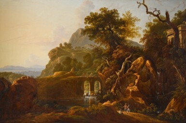 View 1. Thumbnail of Lot 198. A capriccio landscape with travellers below a rocky outcrop.