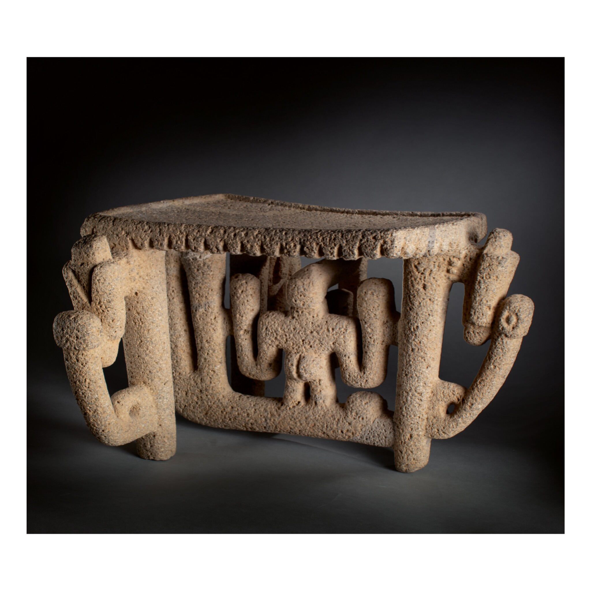 View full screen - View 1 of Lot 130. COSTA RICAN STONE FLYING PANEL METATE LATE PERIOD IV, AD 1 - 500.