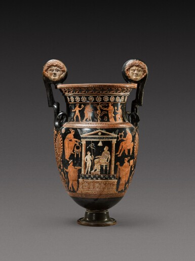 View 1. Thumbnail of Lot 18. An Apulian Red-figured Volute Krater, attributed to the Gioia del Colle Painter, circa 350-330 B.C..